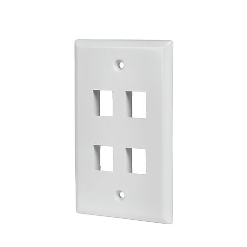 Commercial Electric 4-Port Wall Plate - White