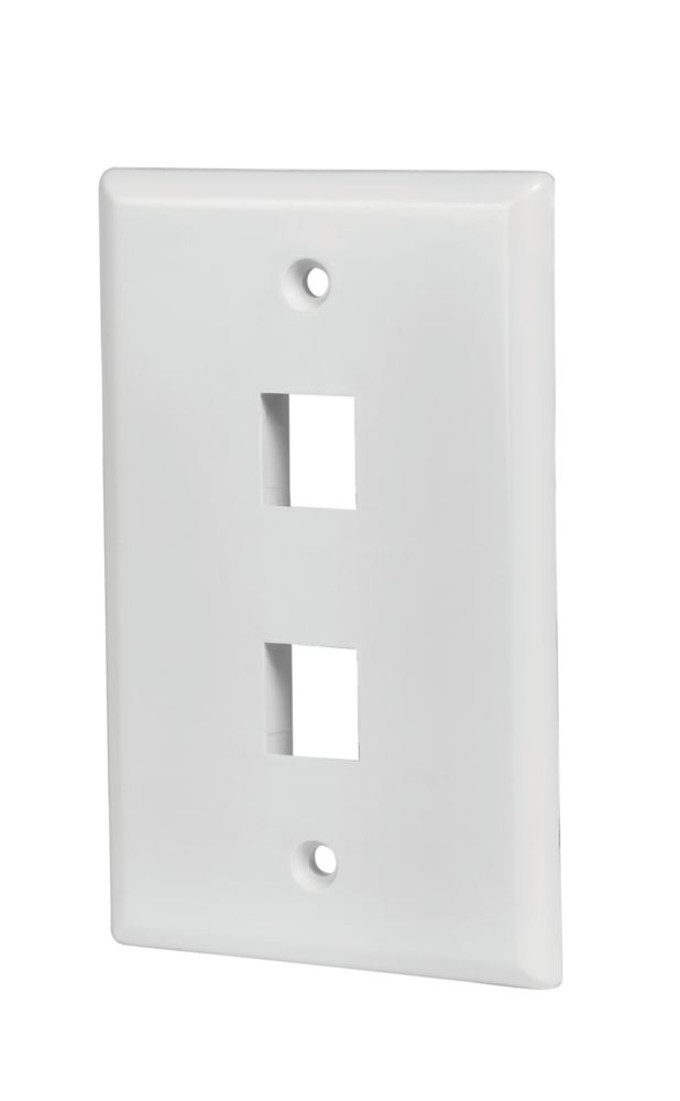 Commercial Electric 2-Port Wall Plate in White (5-Pack)