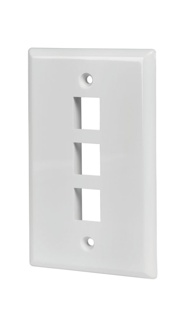 3-PORT WALL PLATE, WHITE, 5 PK