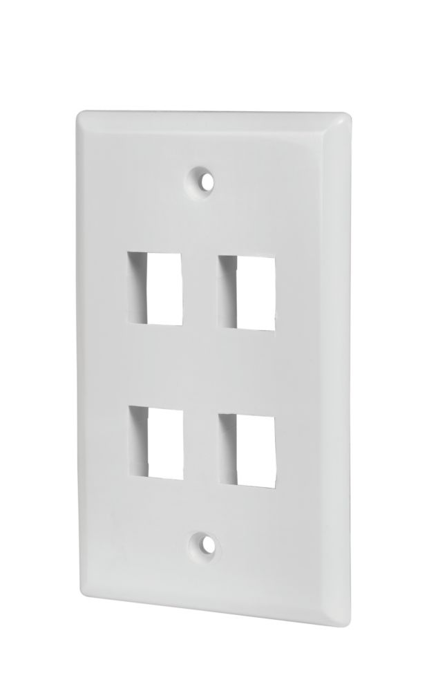 4-PORT WALL PLATE, WHITE, 5 PK