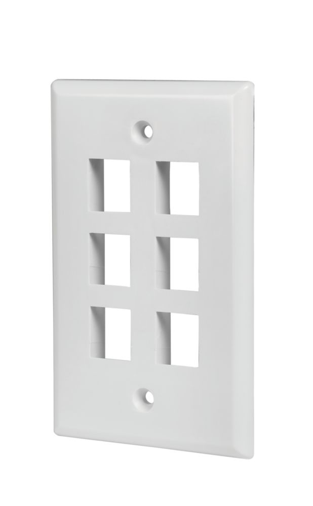 6-PORT WALL PLATE, WHITE, 5 PK