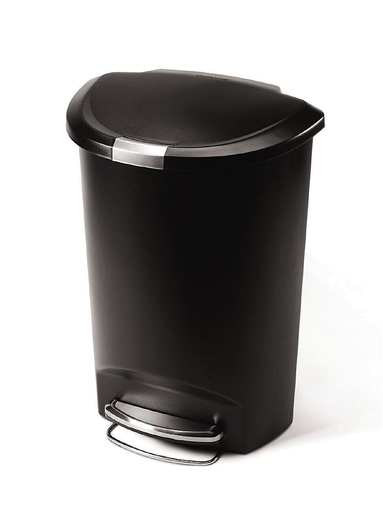 50 L Semi Round Black Plastic Step On Trash Can
