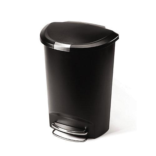 50 L Semi-Round Black Plastic Step-On Trash Can