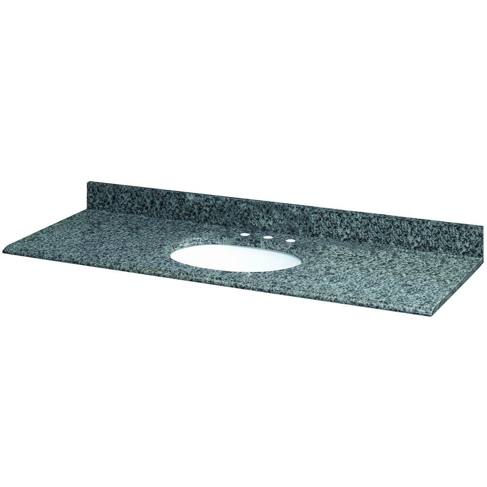 61-Inch W x 22-Inch D Quadro Granite Vanity Top with White Bowl
