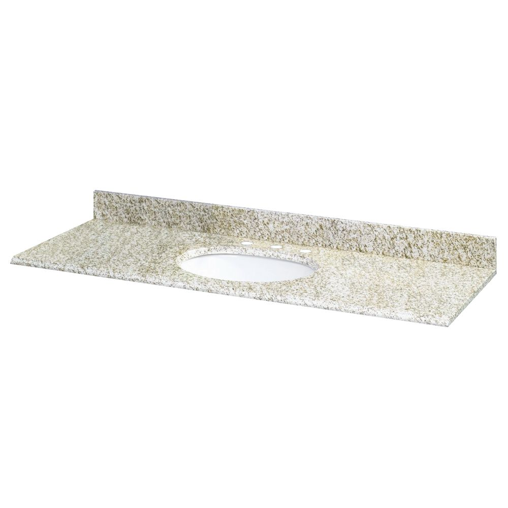 61-Inch W x 22-Inch D Granite Vanity Top in Golden Hill with White Bowl