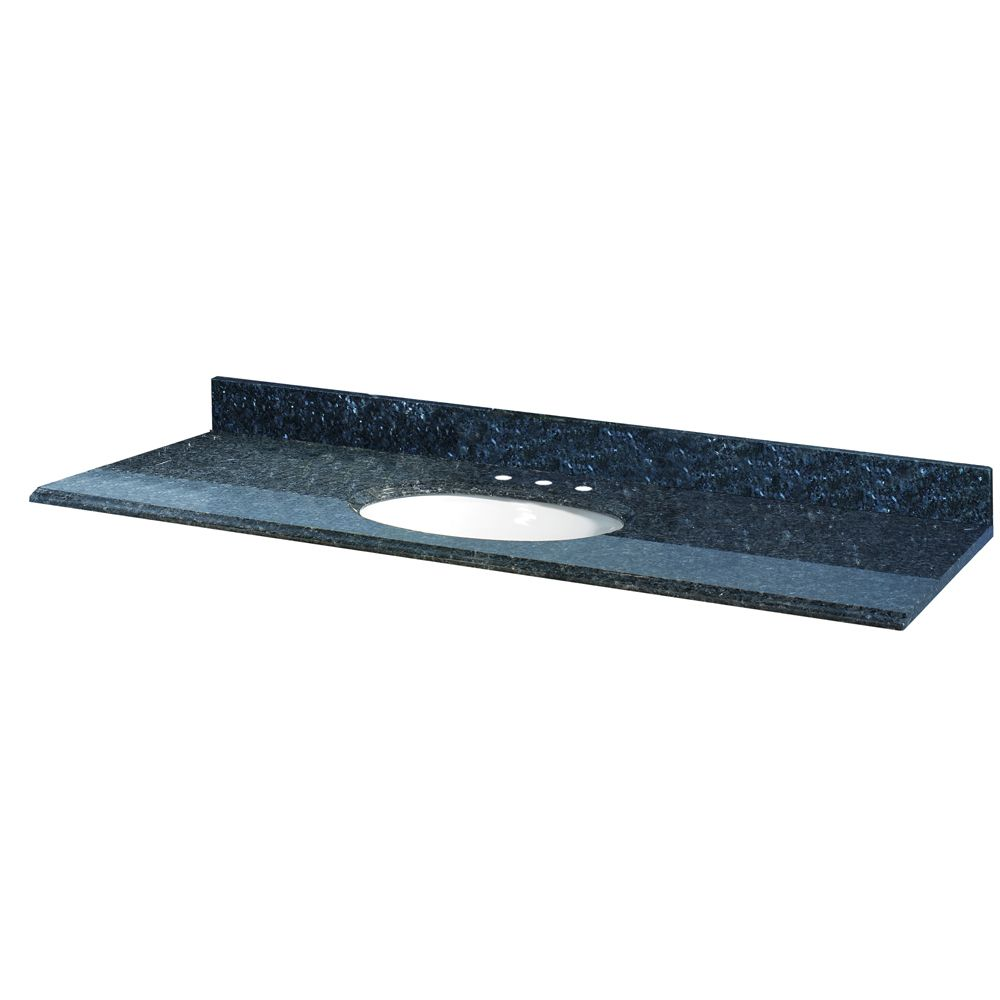 61-Inch W x 22-Inch D Granite Vanity Top in Blue Pearl with White Bowl
