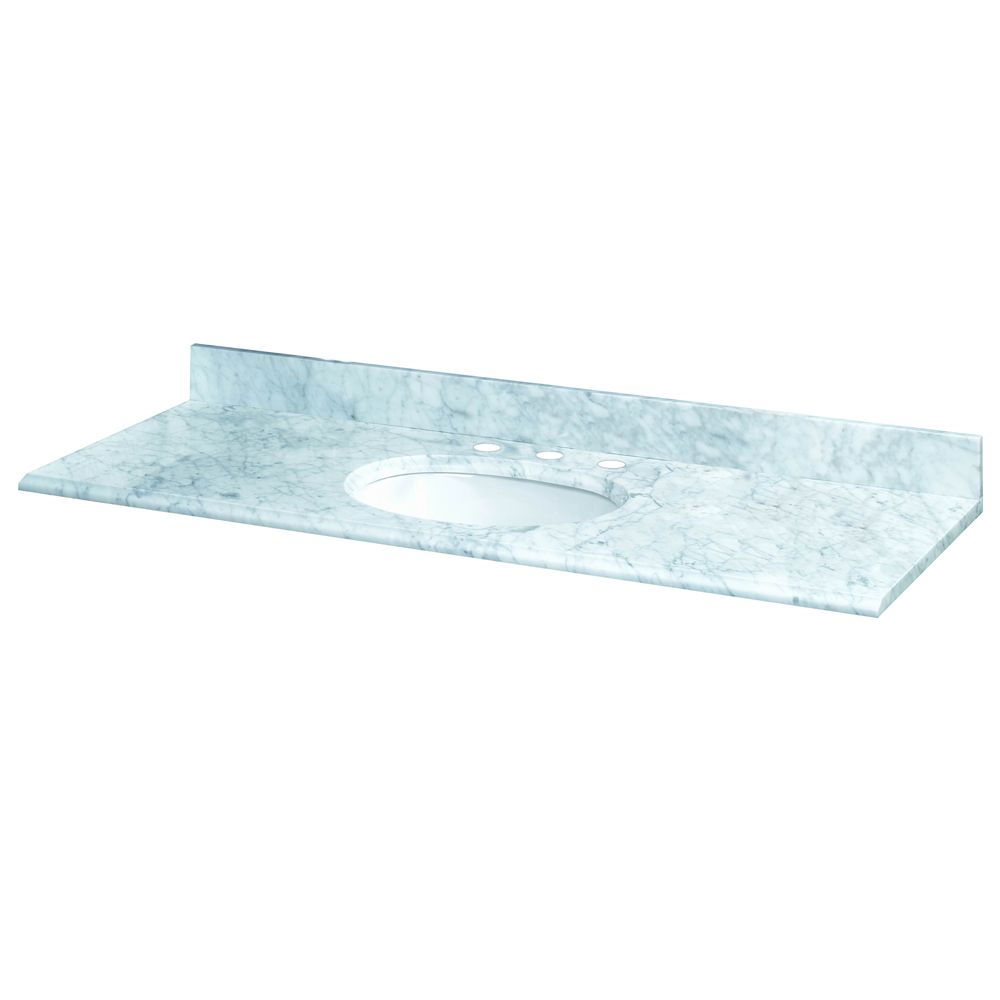 61-Inch W x 22-Inch D Carrara Marble Vanity Top with White Bowl