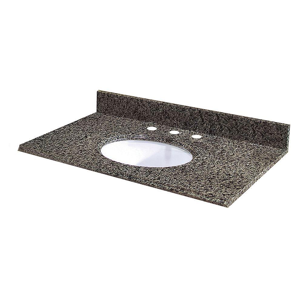 Revêtement de comptoir pour meuble lavabo de 63,5 cm X 55,9 cm (25 po X 22 po) en granit Quadro