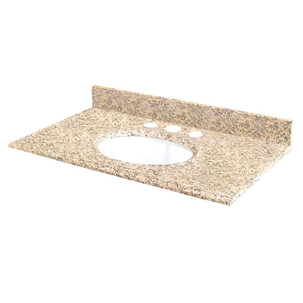 25-Inch W x 22-Inch D Granite Vanity Top in Golden Hill