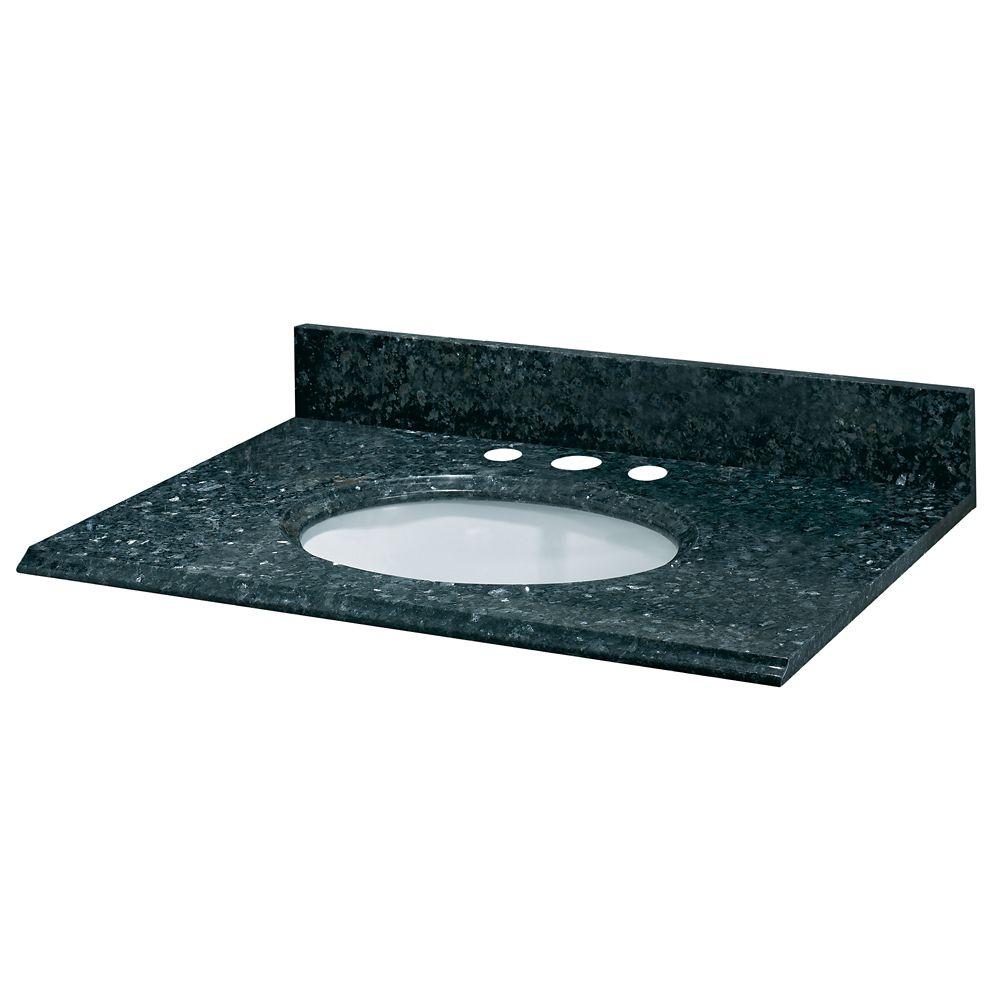 Revêtement de comptoir pour meuble lavabo de 78,7 cm X 55,9 cm (31 po X 22 po) en granit perle bl...