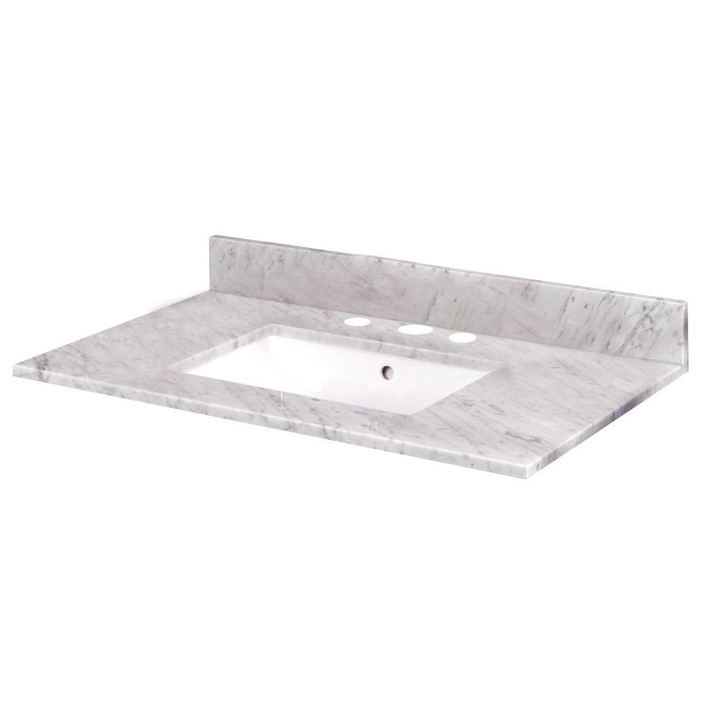 37-Inch W x 22-Inch D Carrara Marble Vanity Top with Trough Bowl
