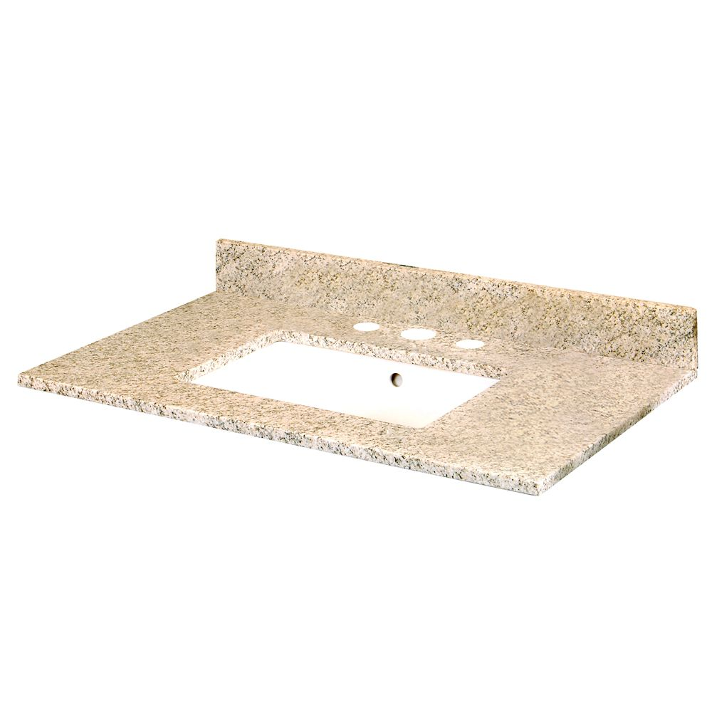 37-Inch W x 22-Inch D Granite Vanity Top in Golden Hill with Trough Bowl