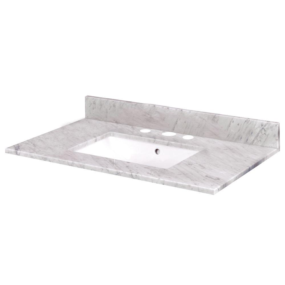 31-Inch W x 22-Inch D Carrara Marble Vanity Top