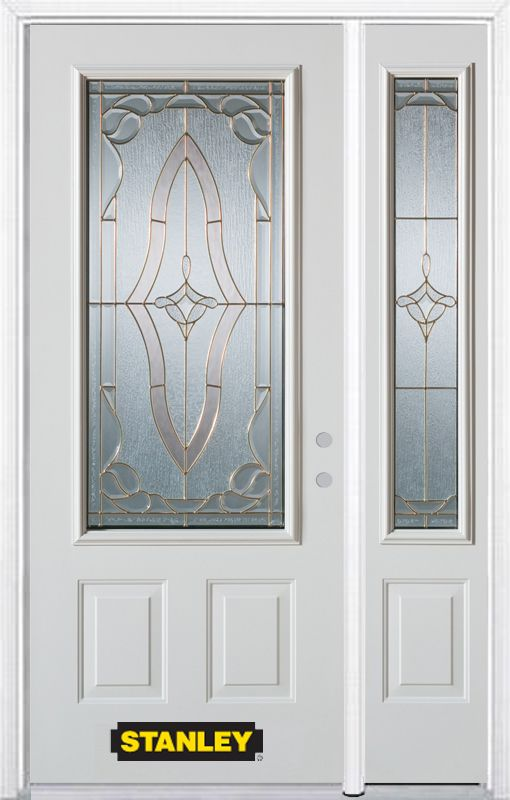Stanley Doors 50.25 inch x 82.375 inch Florence Brass 3/4 Lite 2-Panel Prefinished White Left-Hand Inswing Steel Prehung Front Door with Sidelite and Brickmould - ENERGY STAR®