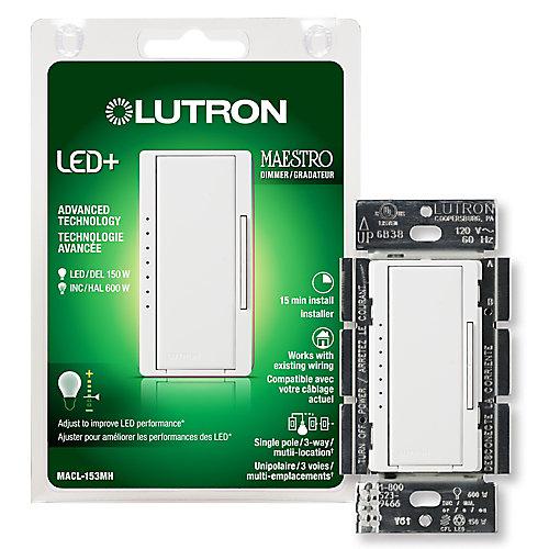 Maestro 150-Watt Single-Pole/3-Way/Multi-Location Digital LED/CFL Dimmer in White