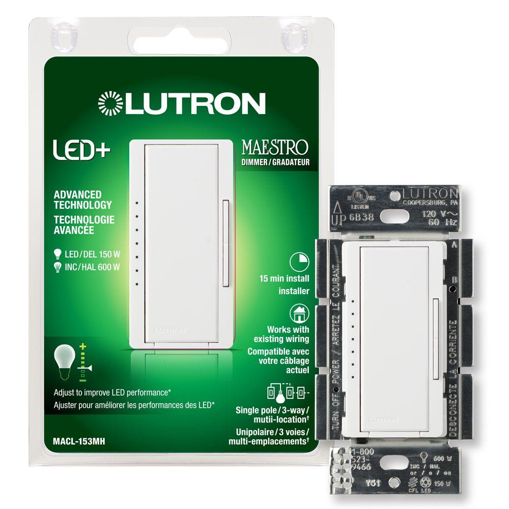 Maestro 150-Watt Single-Pole/3-Way/Multi-Location Digital Led/Cfl Dimmer, White
