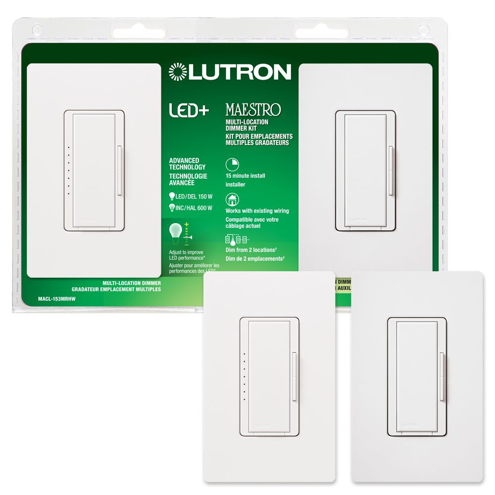 Maestro 150-Watt Multi-Location Digital CFL-LED Dimmer Kit, White
