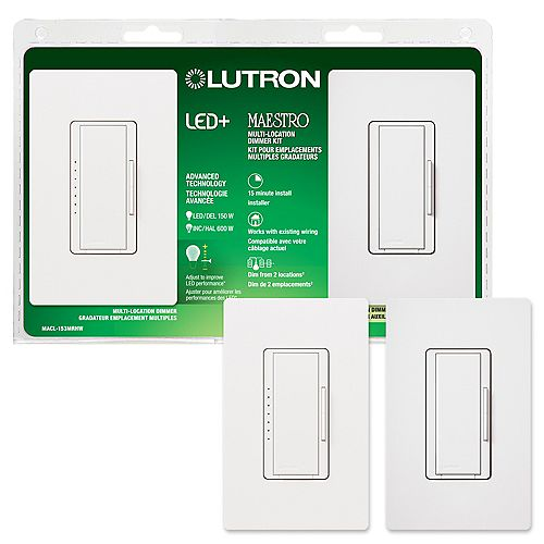Lutron Maestro LED+ Dimmer 3-Way or Multi-Location Kit for Dimmable LED/HAL/INCAND Bulbs, White