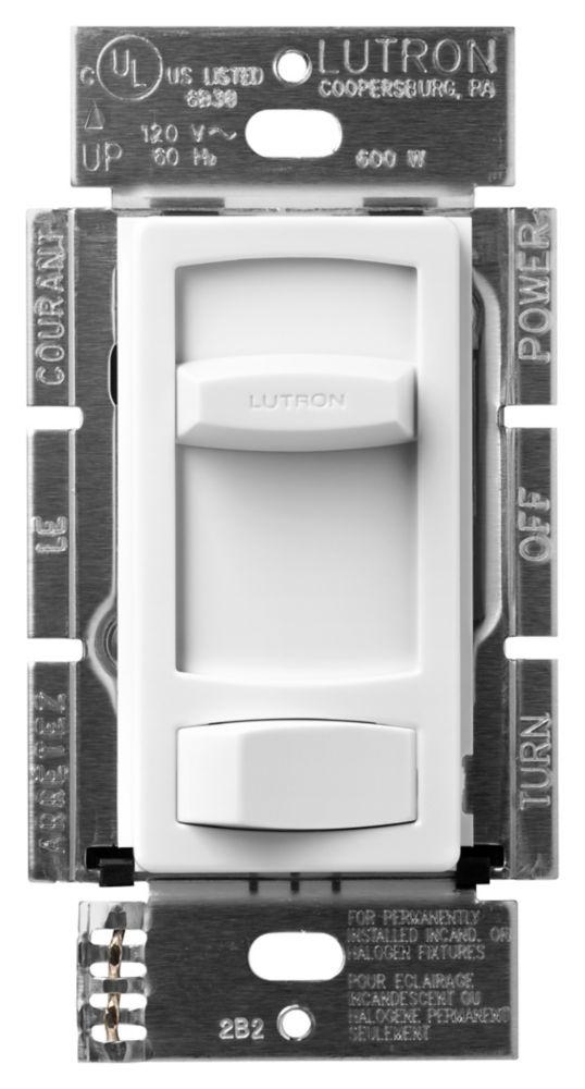 Gradateur Skylark Contour de Lutron, unipolaire préréglé 600-Watts, Blanc