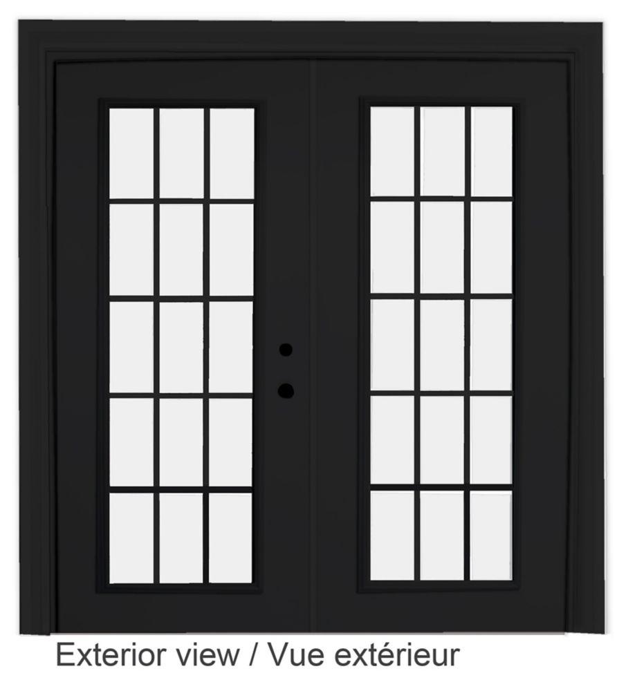 60-inch x 82-inch 15-Lite Low-E Argon-Filled Internal Grill Black Lefthand Steel Garden Door