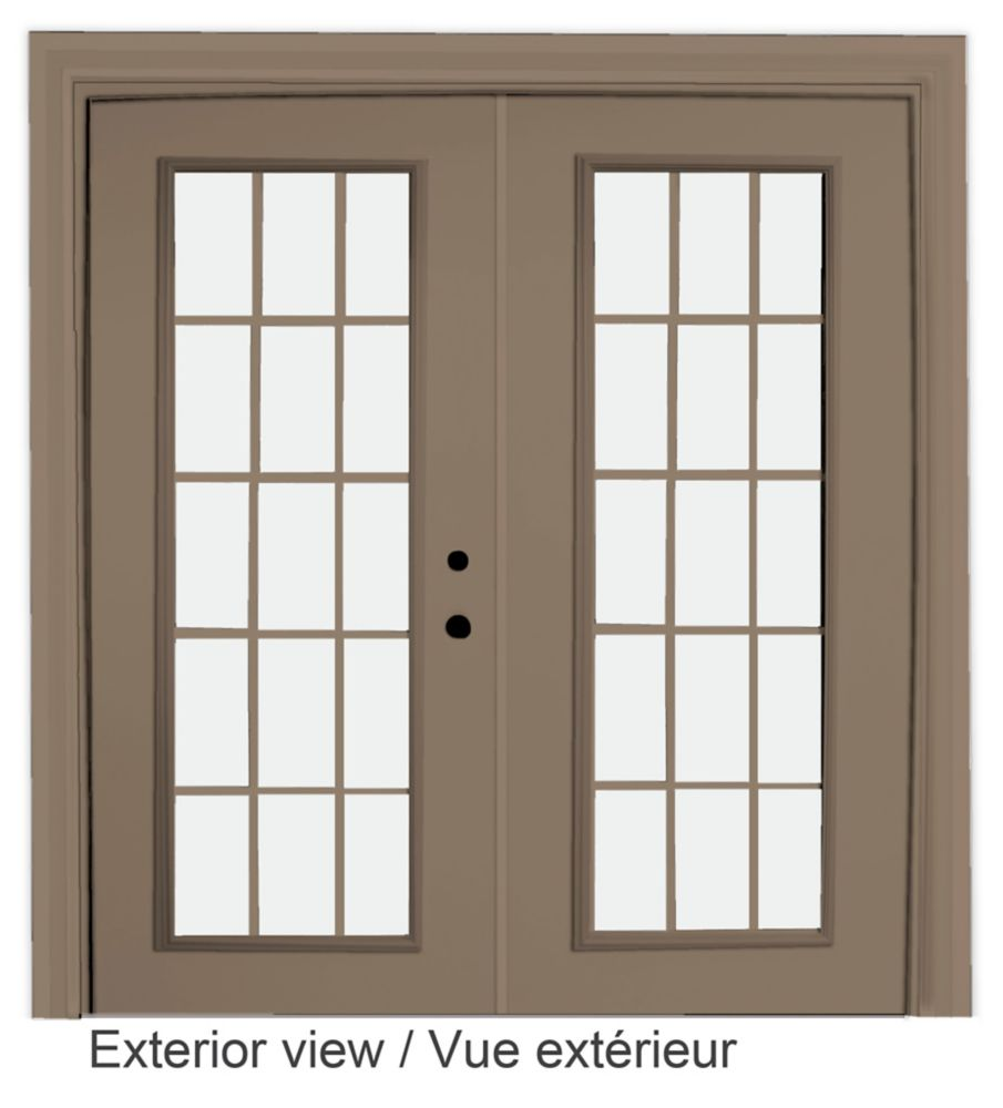 60-inch x 82-inch 15-Lite Low-E Argon-Filled Internal Grill Sandstone Lefthand Steel Garden Door