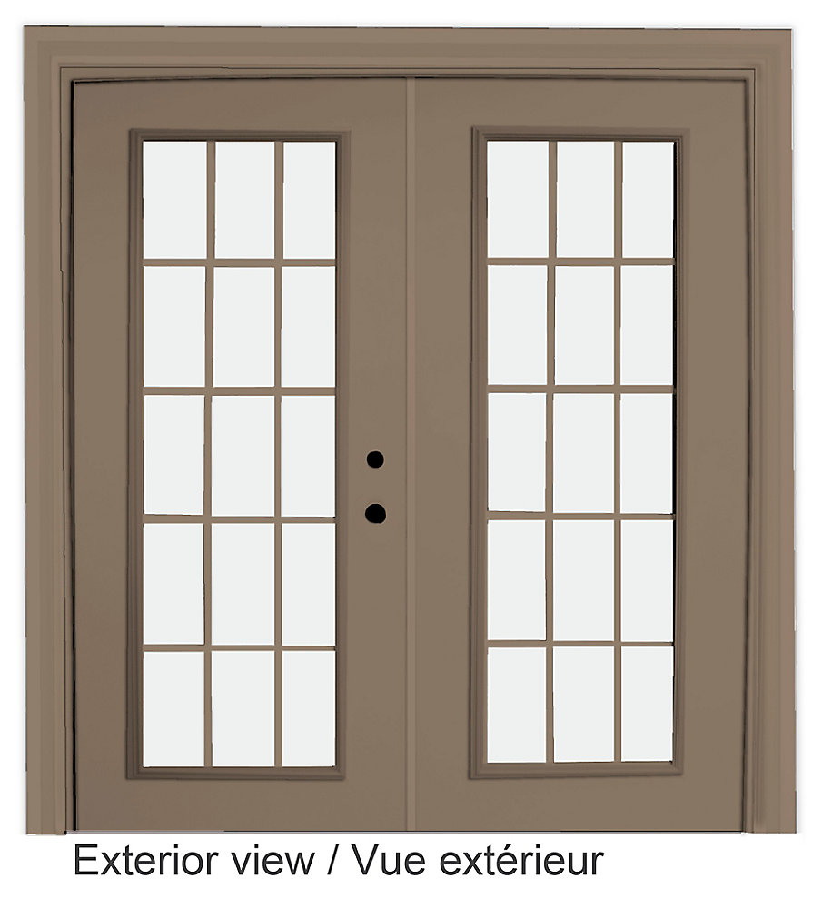 71 inch x 82.375 inch Clear LowE Argon Painted Sandstone Left-Hand Steel Garden Door with 7-1/4 inch Jamb and 15-Lite Internal Grill - ENERGY STAR®