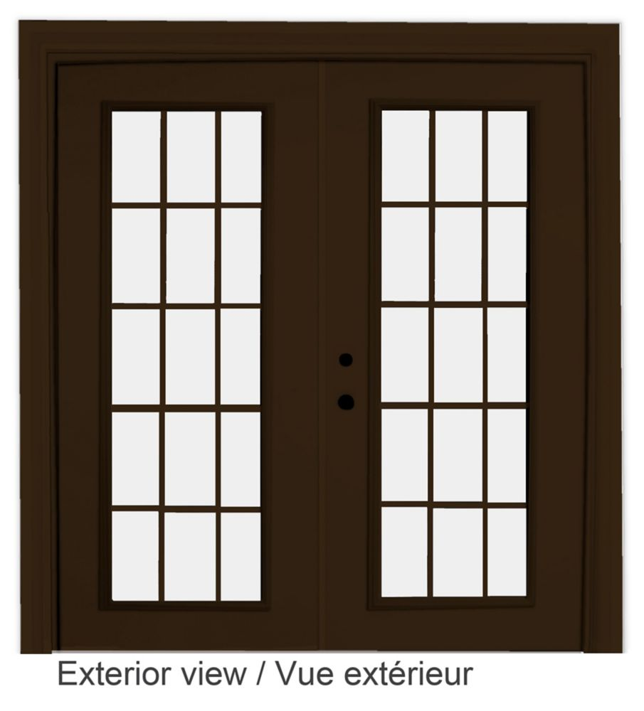 72-inch x 82-inch 15-Lite Low-E Argon-Filled Internal Grill Brown Righthand Steel Garden Door