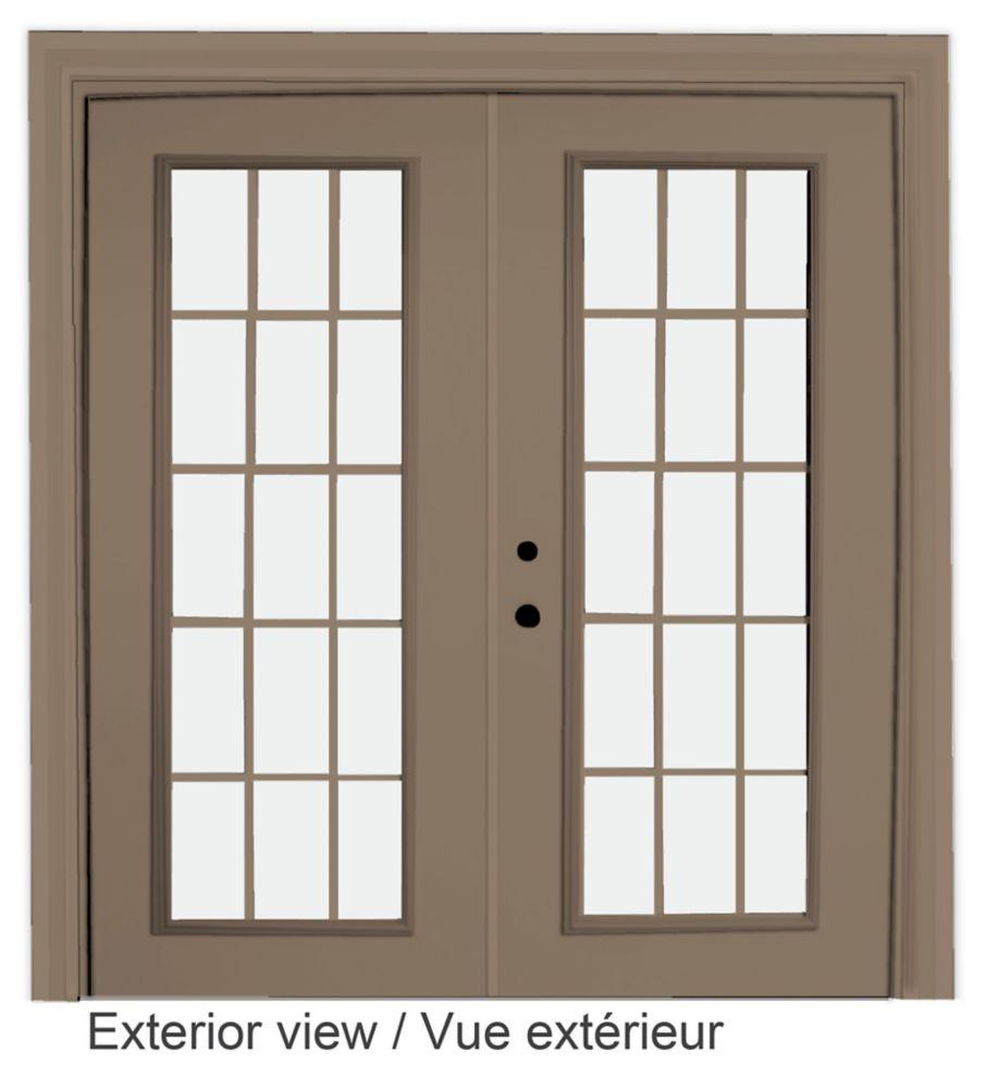 72-inch x 82-inch 15-Lite Low-E Argon-Filled Internal Grill Sandstone Righthand Steel Garden Door