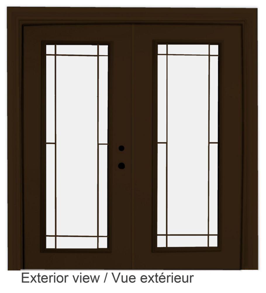 60-inch x 82-inch Brown Low-E Argon Lefthand Steel Garden Door with Prairie Style Grill