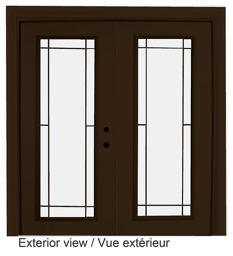 61 inch x 82.375 inch Clear LowE Argon Painted Commercial Brown Left-Hand Steel Garden Door with 7-1/4 inch Jamb and Prairie Style Internal Grill - ENERGY STAR®