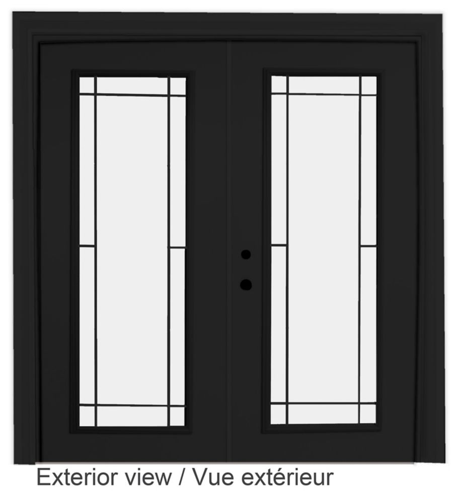 60-inch x 82-inch Black Low-E Argon Righthand Steel Garden Door with Prairie Style Grill