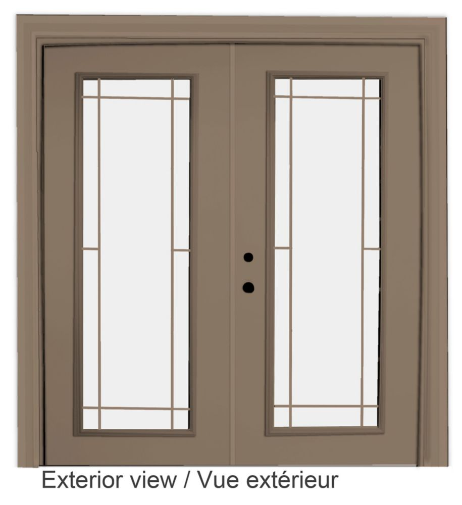 60-inch x 82-inch Sandstone Low-E Argon Righthand Steel Garden Door with Prairie Style Grill