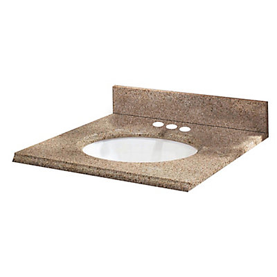 Pegasus 25 Inch X 19 Granite Vanity Top In Beige With White Bowl And 4 Faucet Spread The Home Depot Canada