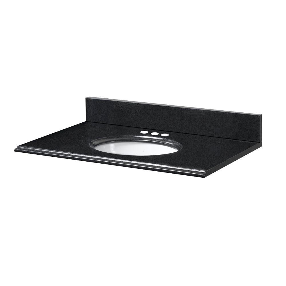 Revêtement de comptoir pour meuble lavabo de 63,5 cm X 48,3 cm (25 po X 19 po) en granit noir