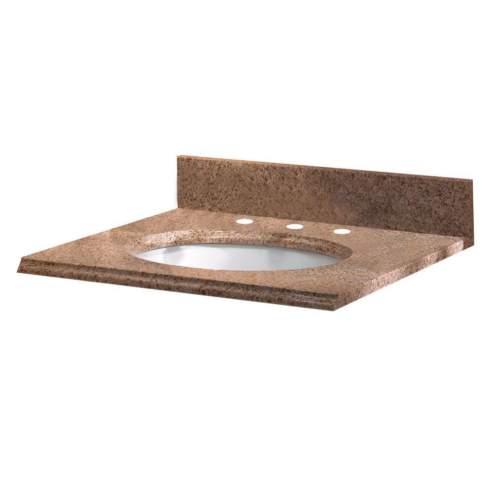 Revêtement de comptoir pour meuble lavabo de 63,5 cm X 55,9 cm (25 po X 22 po) en granit beige