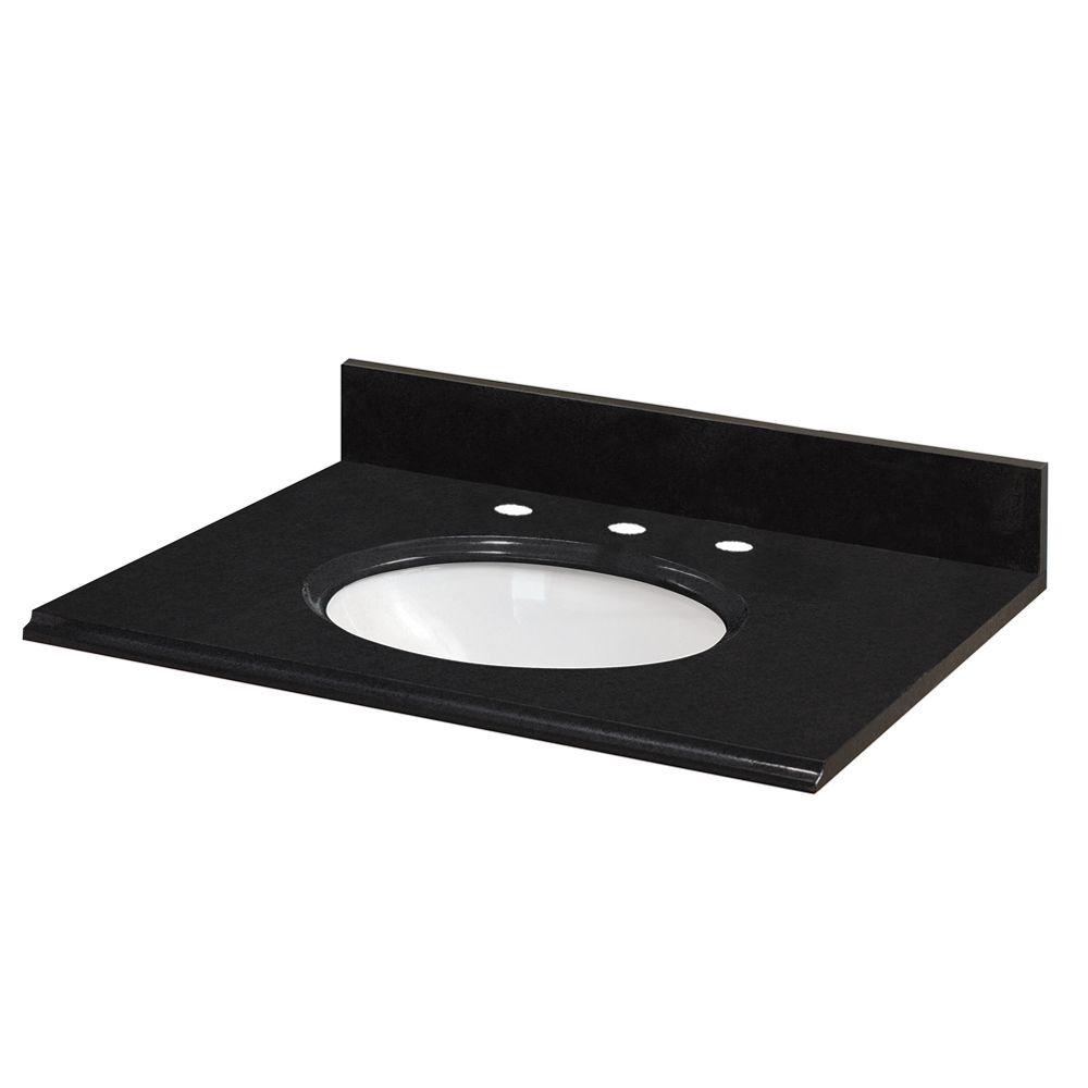 25-Inch W x 22-Inch D Granite Vanity Top in Black