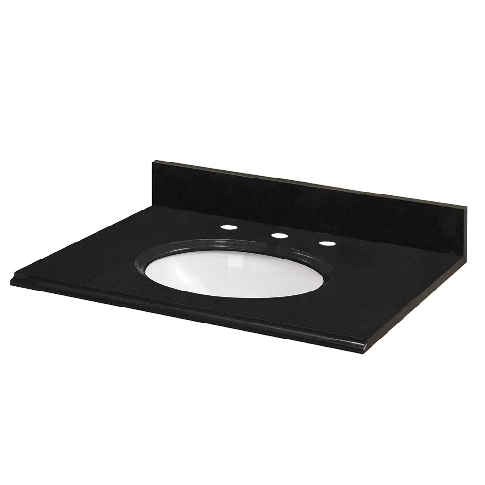 25-Inch W x 22-Inch D Granite Vanity Top in Black