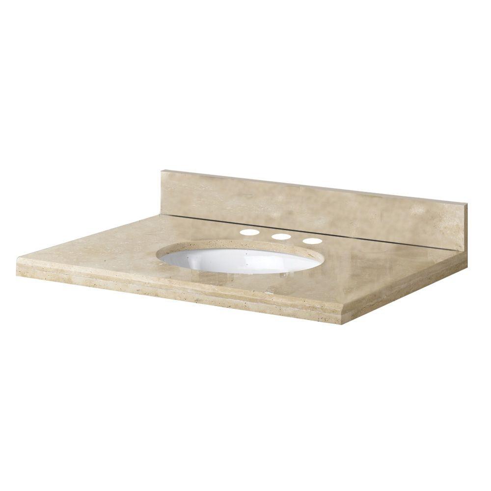 Revêtement de comptoir pour meuble lavabo de 63,5 cm X 55,9 cm (25 po X 22 po) en travertin ivoir...
