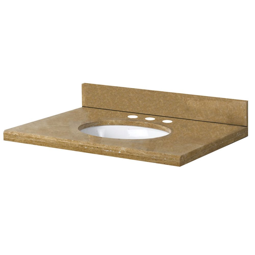 25-Inch W x 22-Inch D Travertine Vanity Top in Noche Rustico