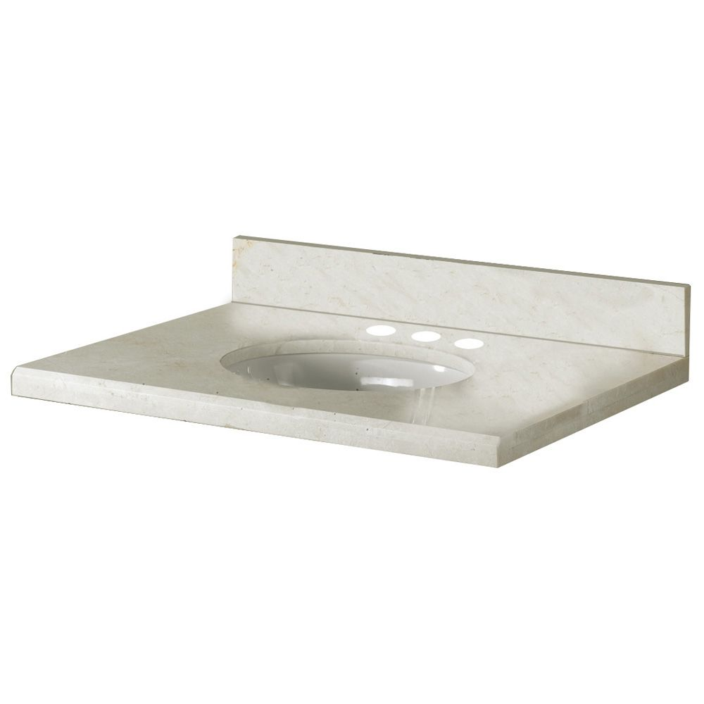 25-Inch W x 22-Inch D Marble Vanity Top in Crema Marfil