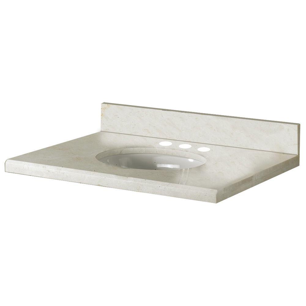 Revêtement de comptoir pour meuble-lavabo de 63,5 cm X 55,9 cm (25 po X 22 po) en marbre Crema Ma...