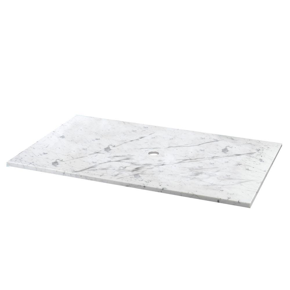 25-Inch W x 22-Inch D Carrara Marble Vessel Vanity Top