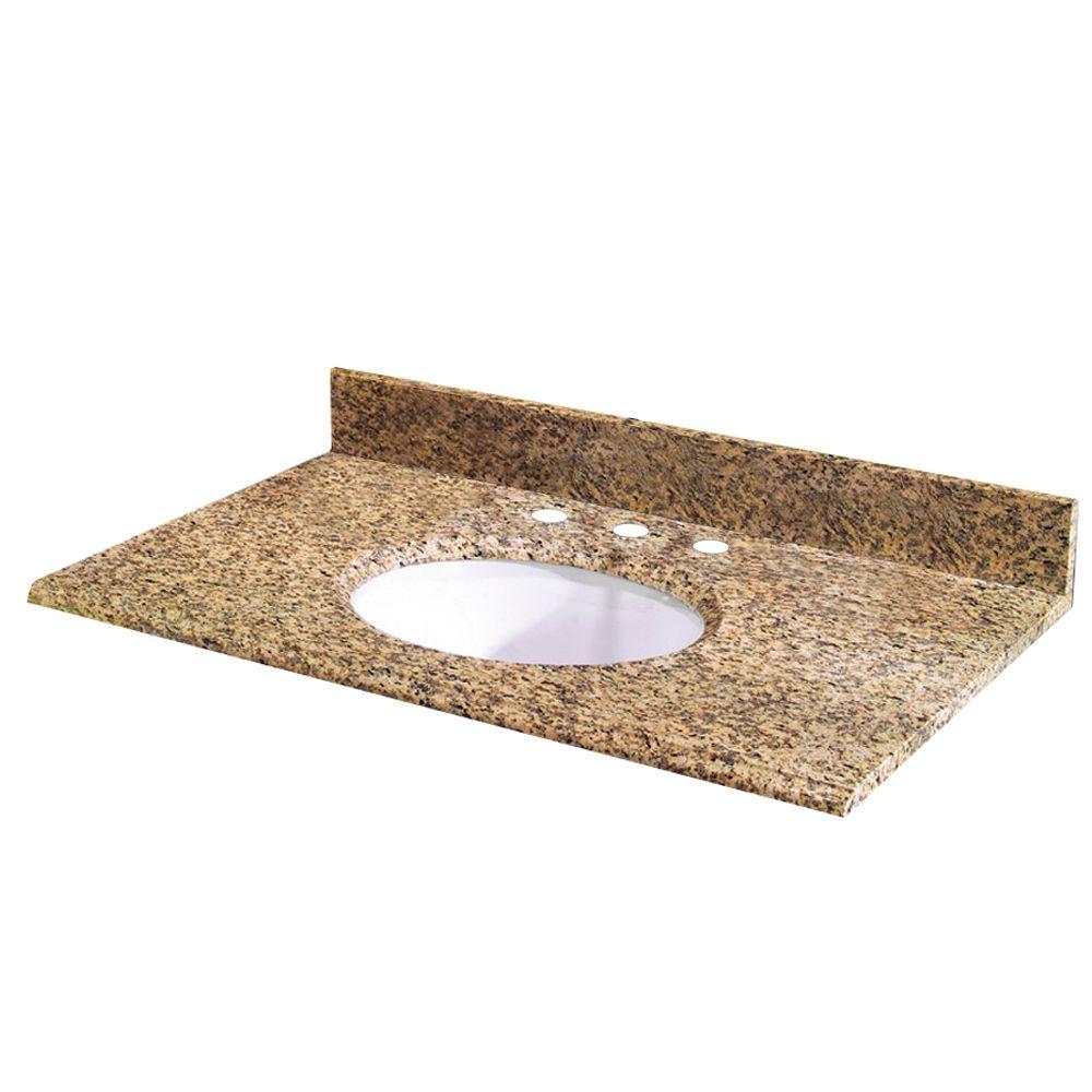 Revêtement de comptoir pour meuble lavabo de 124,4 cm X 55,9 cm (49 po X 22 po) en granit Monteso...