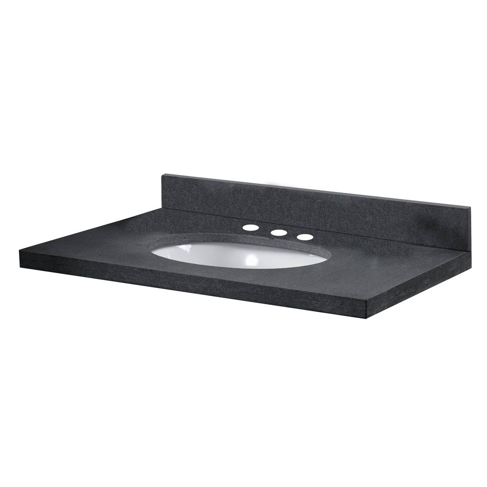 49-Inch W x 22-Inch D Granite Vanity Top in Antique Black