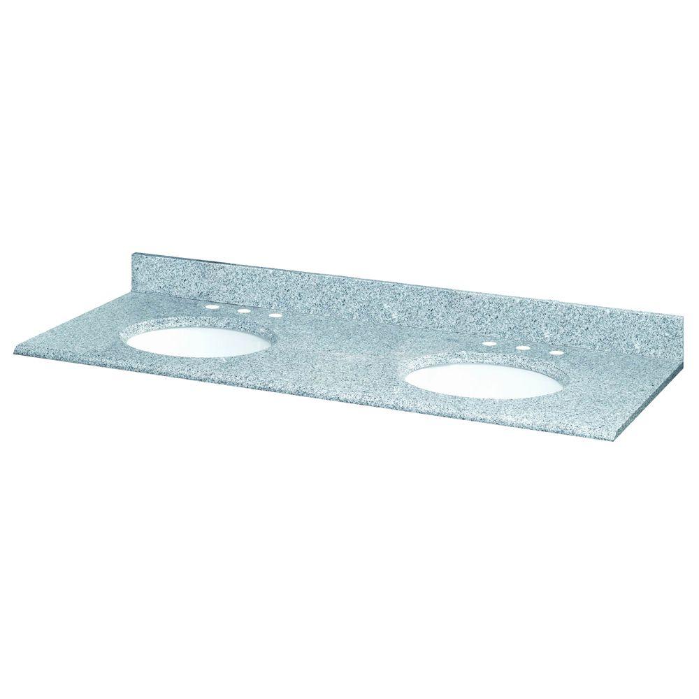 Revêtement de comptoir pour meuble lavabo double de 155 cm (61 po) en granit Napoli