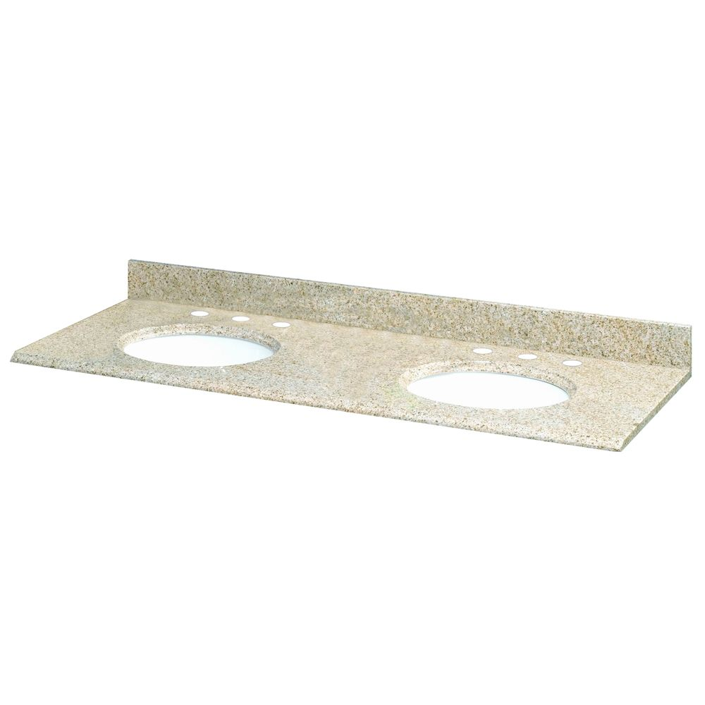 61-Inch W x 22-Inch D Granite Vanity Top in Beige with 2 White Bowls