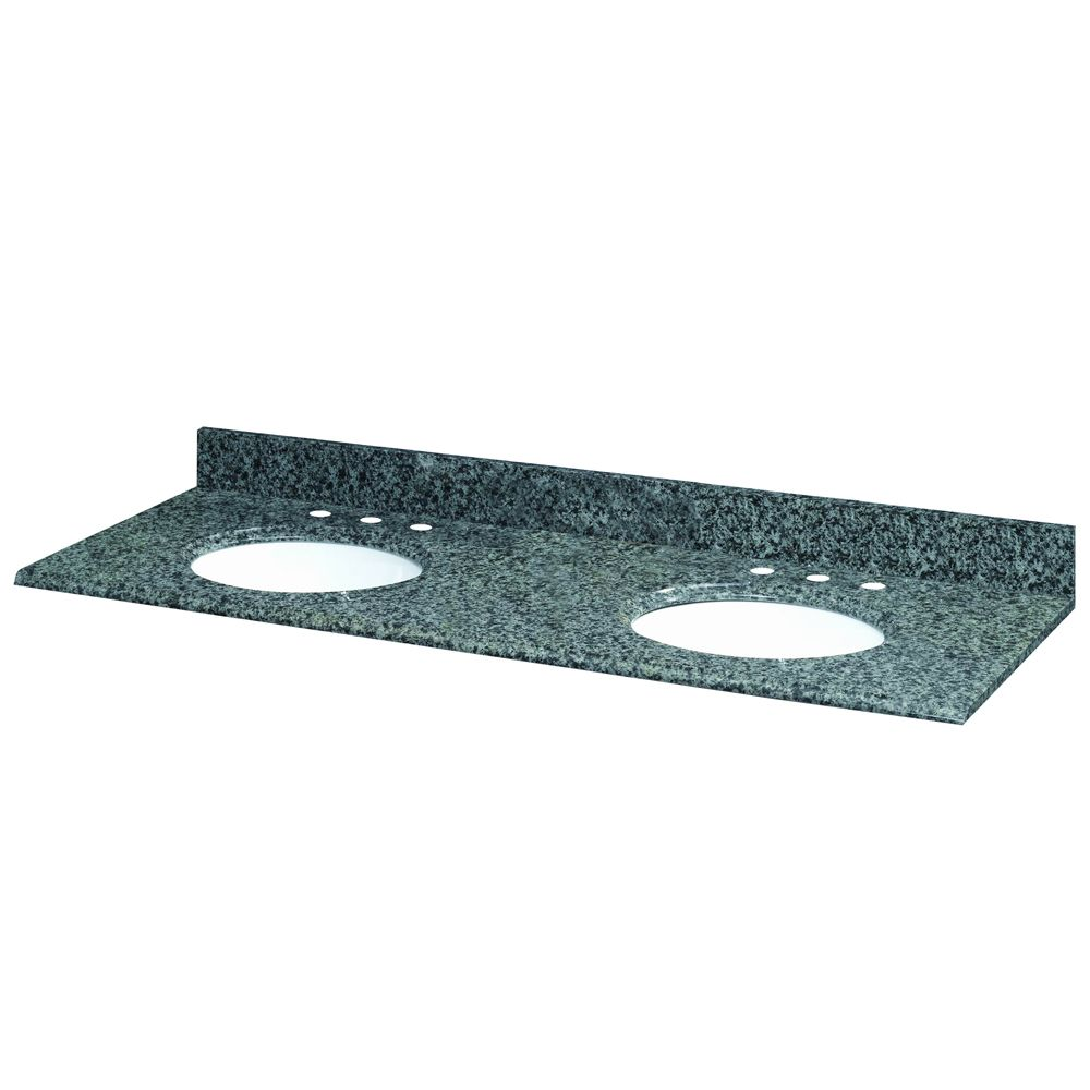 61-Inch W x 22-Inch D Quadro Granite Vanity Top with 2 White Bowls