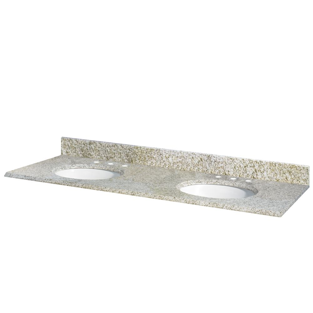 61-Inch W x 22-Inch D Granite Vanity Top in Golden Hill with 2 White Bowls