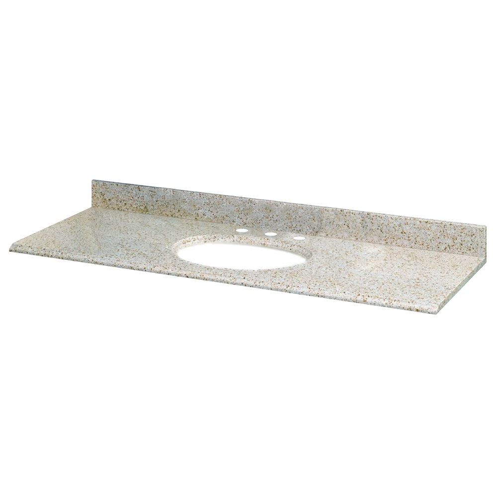 61-Inch W x 22-Inch D Granite Vanity Top in Beige with White Bowl