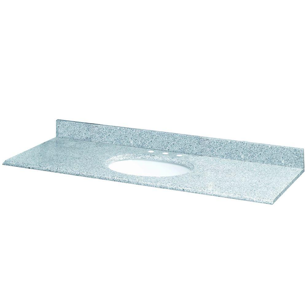 61-Inch W x 22-Inch D Granite Vanity Top in Napoli with White Bowl